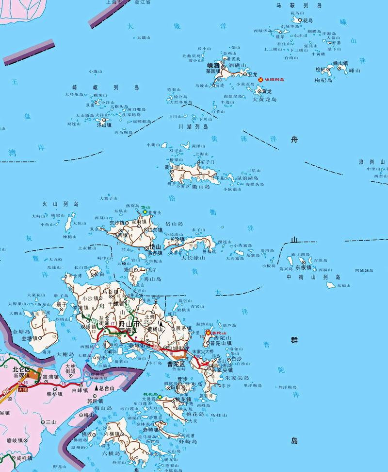 请看舟山群岛地图