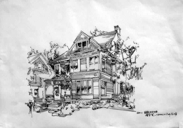 卡通别墅素描图片简单