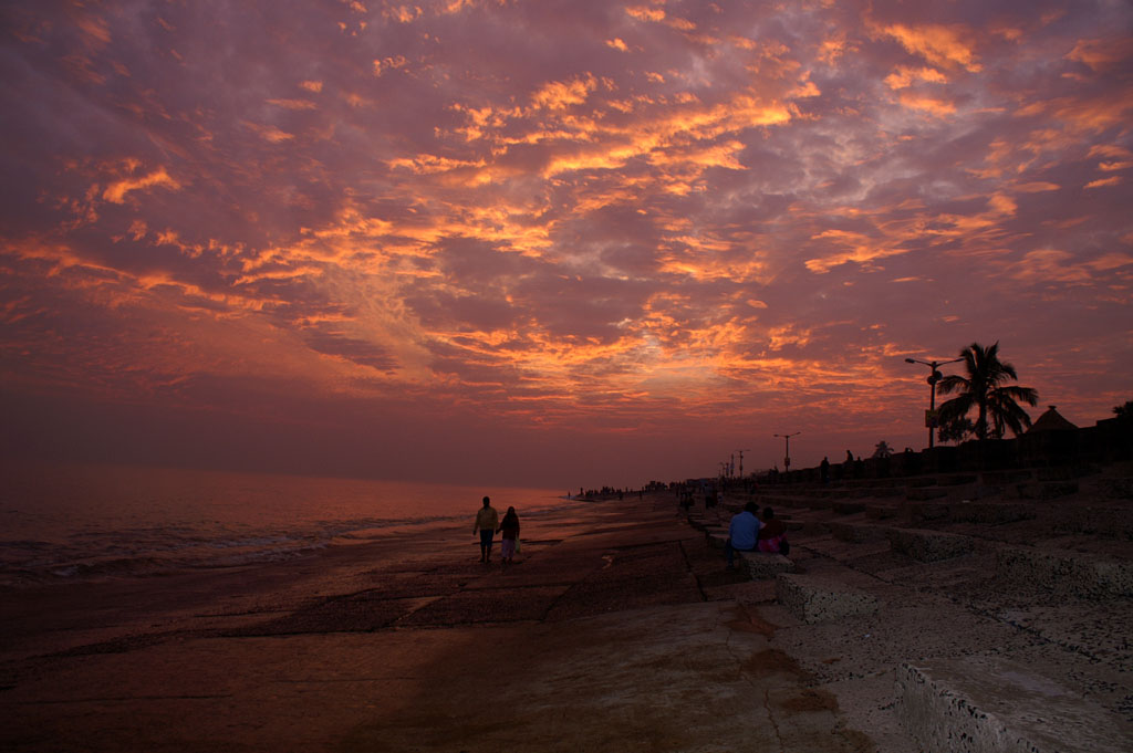 迪格哈的海边落日