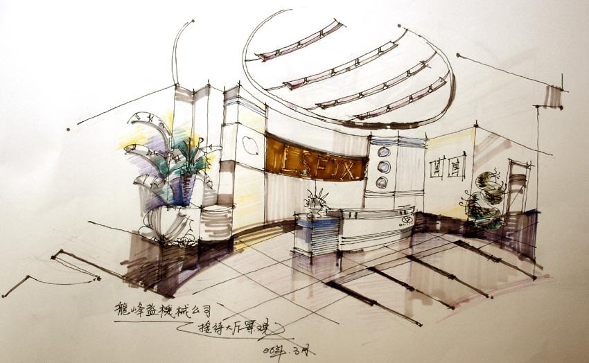 成角透视阶梯手绘图