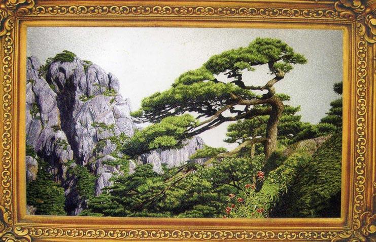 著名风景画刺绣——迎客松(成品尺寸;120*180cm)