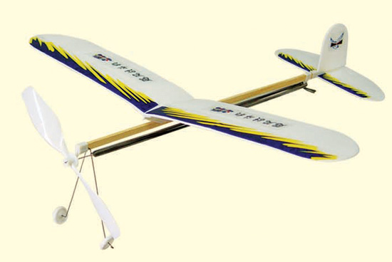 橡皮筋螺旋桨动力滑翔飞机