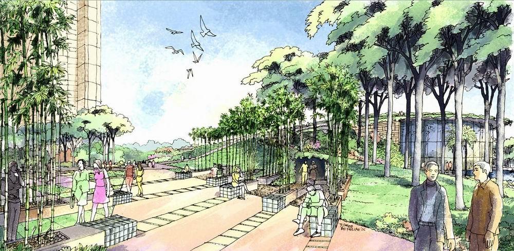 室外休闲广场设计手绘