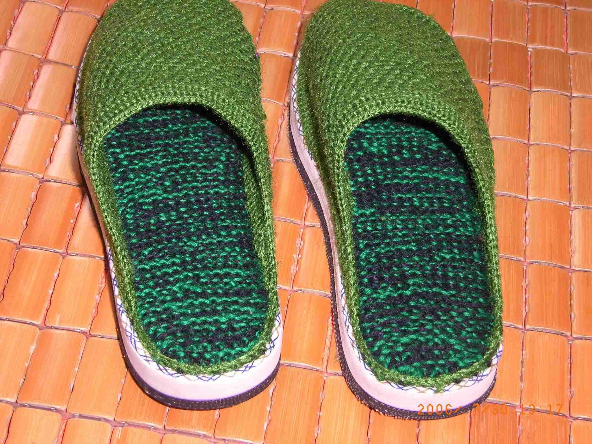 手工编织的毛线拖鞋,手工鞋垫