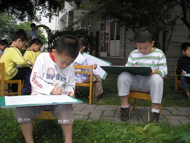 我们在幼儿园的小树林里画写生画