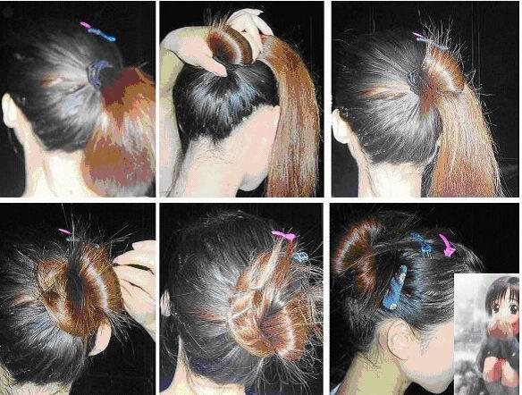教您各种盘头发的方法图解图片