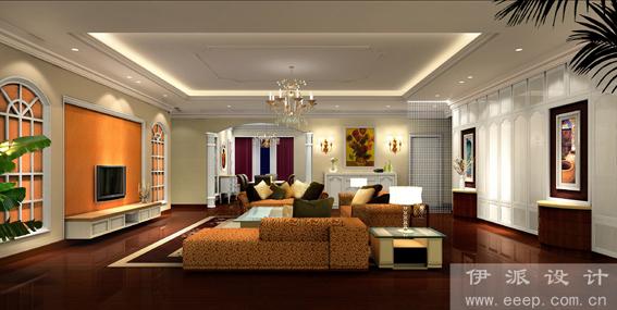 欧式客厅装修罗马柱隔断图