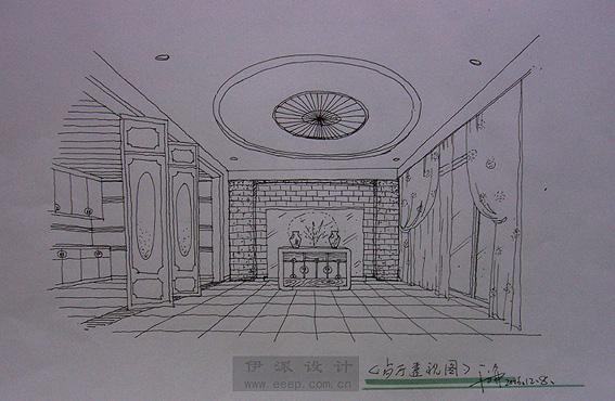 新中式公共空间手绘图