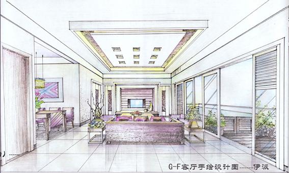 """""""绿地杯""""g-f户型设计案子:  客厅设计手绘图:    -----伊派设计"""