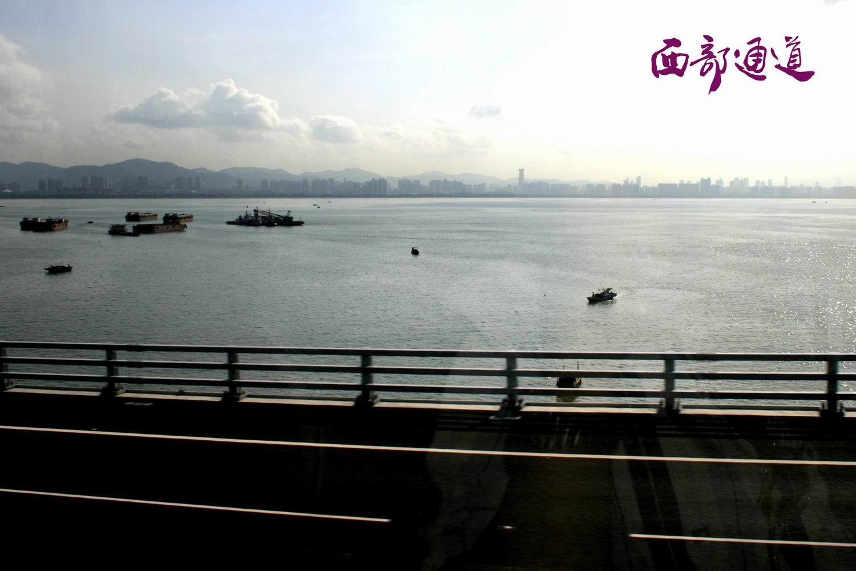 蓝天白云下的深圳湾*红树湾*跨海大桥*西部通道联检