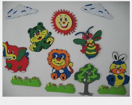 布置宝宝房间必备哦--彩色卡通立体动物墙贴画(一套12