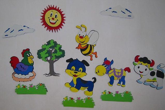 色卡通立体动物墙贴画