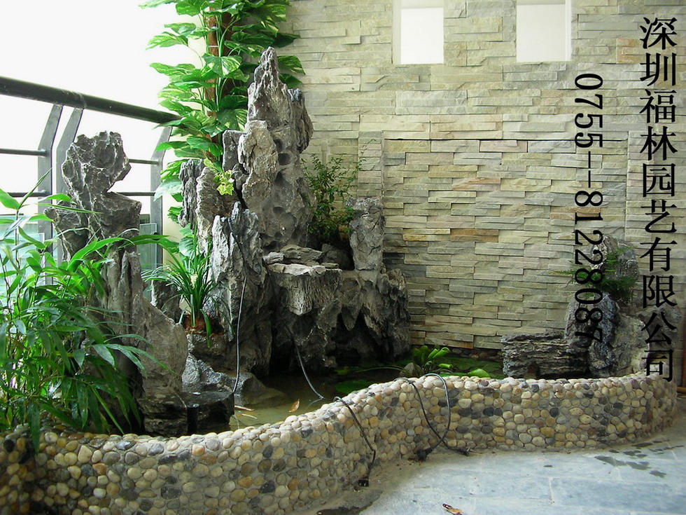 家庭制作庭院假山鱼池