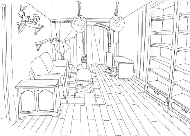 客厅的效果图是俺男朋友绘制的,画完他发现透视