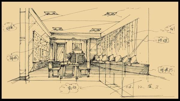 一点透视客厅手绘图步骤