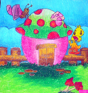 幼儿简笔画彩色房子