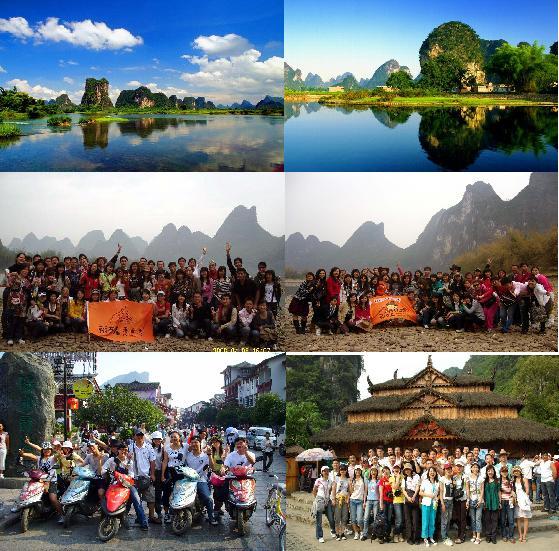*游漓江精华段(附近的著名景点有:文笔峰,浪石林,九马画山,八仙过海
