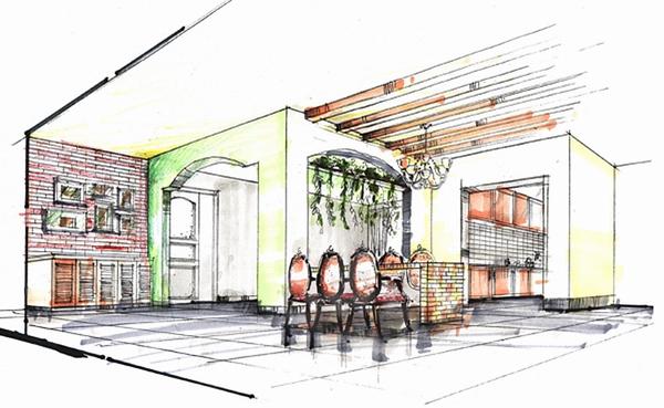 商业空间餐厅手绘图