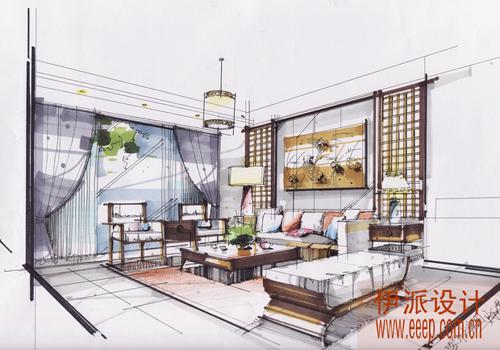 客厅手绘方案设计图.