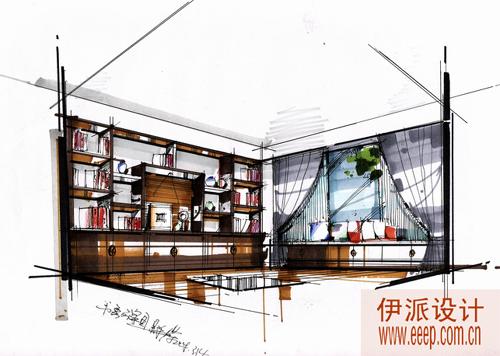 书房手绘方案设计图.