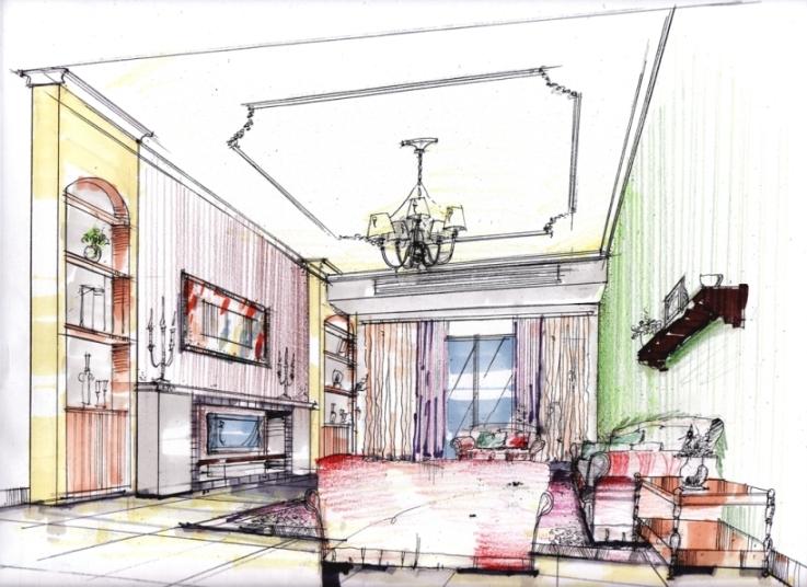 一点透视欧式客厅手绘图