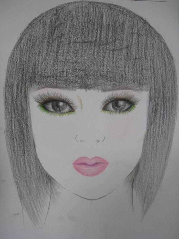 化妆美人图素描图片 美人图素描 化妆师纸上美人图图片